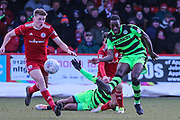 Forest Green Rovers Isaiah Osbourne(34) clears the ball during the EFL Sky Bet League 2 match between Accrington Stanley and Forest Green Rovers at the Wham Stadium, Accrington, England on 17 March 2018. Picture by Shane Healey.