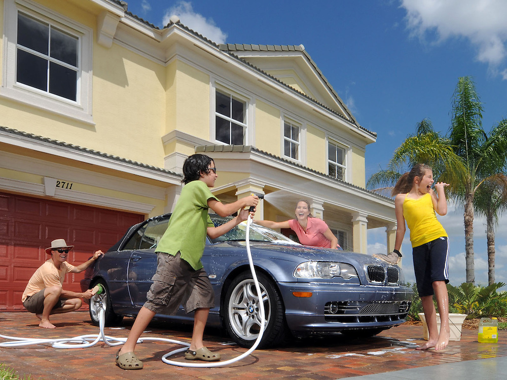 Lifestyle - Family washing car