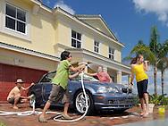 Lifestyle - Family washing car
