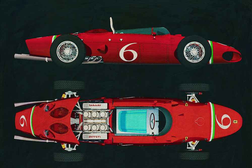 From the moment you see something like the Ferrari 156, your heart begins to race. This vehicle could be seen as an iconic example of our constant fascination with two things. We love to build complex, powerful machines. We like it even more, when those machines can go really, really fast. This art piece depicting the Ferrari 156 plays with both of those thoughts in the best way possible. It isn't difficult to hear the sound of that perfect engine, ripping the racetrack as it hugs a turn that has to be seen to be believed. T -<br />