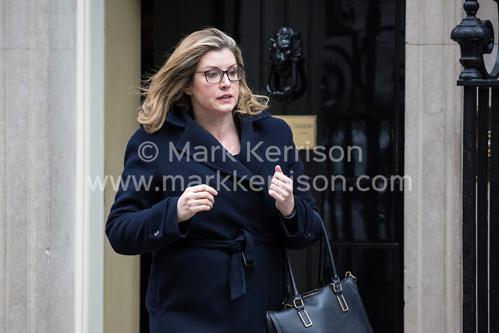 London, UK. 12th February, 2019. Penny Mordaunt MP, Secretary of State for International Development, leaves 10 Downing Street following a Cabinet meeting.