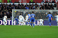 Chelsea's Victor Moses (l no13) scores the opening goal with a header.  Barclays Premier league, Swansea city v Chelsea at the Liberty Stadium in Swansea, Swansea, South Wales on Saturday 3rd November 2012. pic by Andrew Orchard, Andrew Orchard sports photography,