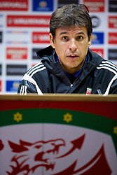 09.10.2014, City Stadium, Cardiff, ENG, FS Vorbereitung, Trainingslager, Nationalteam Wales, Pressekonferenz, vor dem kommenden UEFA Euro 2016 Qualifikationsmatch gegen Bosnien Herzegovina am 10. Oktober in Cardiff, im Bild Wales' manager Chris Coleman // during a press conference of the national footballteam of Wales prior to the upcoming EURO 2016 qualifying match against Bosnia and Herzegovina on 10. October 2014 in Cardiff, at the City Stadium in Cardiff, Great Britain on 2014/10/09. EXPA Pictures © 2014, PhotoCredit: EXPA/ Propagandaphoto/ David Rawcliffe<br /> <br /> *****ATTENTION - OUT of ENG, GBR*****