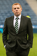 Celtic Manager Neil Lennon Suited & Booted braves the rain ahead of the Betfred Scottish League Cup Final match between Rangers and Celtic at Hampden Park, Glasgow, United Kingdom on 8 December 2019.
