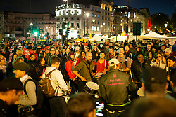 © Licensed to London News Pictures. 08/10/2019. London, UK. Extinction Rebellion dance and drum in Trafalgar Square . Police continue to attempt to clear roads in Westminster on the second day of the protest . Photo credit: George Cracknell Wright/LNP