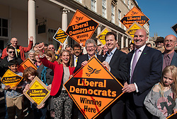 © Licensed to London News Pictures.  06/04/2015. Bath, UK.  Don Foster (left) with Nick Clegg (centre) and Steve Bradley (right). Nick Clegg, leader of the Liberal Democrats who visited Bath to launch the Lib Dem's general election campaign in Bath where Lib Dem MP Don Foster is standing down and PPC Steve Bradley is standing for the Lib Dems.  Photo credit : Simon Chapman/LNP