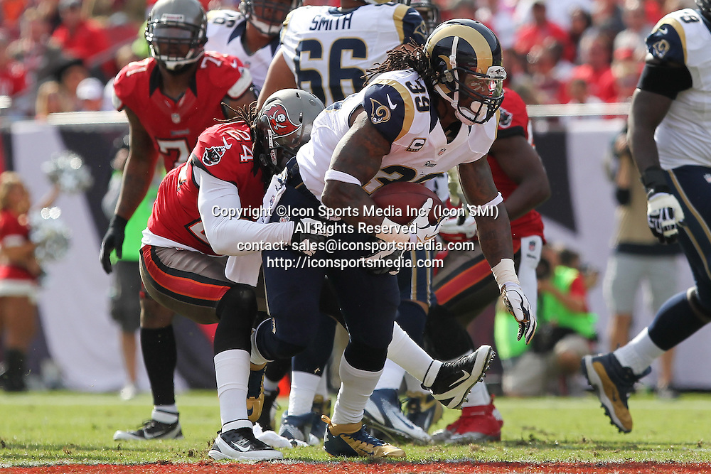 23 December 2012: Rams RB Steven Jackson (39) is tackled by Buccaneers defensive back Mark Barron (24) during the NFL regular season game between the St. Louis Rams and Tampa Bay Buccaneers at Raymond James Stadium in Tampa, Florida.