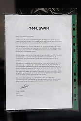 © Licensed to London News Pictures. 01/07/2020. London, UK. A closure notice inside TM Lewin shirtmakers flagship store in Jermyn Street. About 600 workers will lose their jobs after shirtmaker TM Lewin announced it will close all 66 of its UK shops due to the coronavirus pandemic. The firm said most of its 700 workers will be laid off and will focus with <br /> on-line sales. Photo credit: Ray Tang/LNP