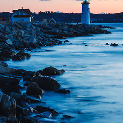 Portsmouth Harbor lighthouse in New Castle, New Hampshire. Dawn.