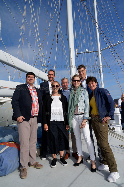 """12-09-2019 NED: Kick-off European Volleyball Men's Championship, Rotterdam<br /> Kick-off for the European Volleyball Men's Championship at the Sailing Ship """"Eendracht"""" with The CEV board, municipal officials of the playing cities, Nevobo and Topsport Rotterdam / CEV, delegate cities Rotterdam, Amsterdam and Apeldoorn"""