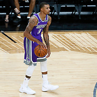 08 October 2017: Sacramento Kings guard George Hill (3) dribbles during the LA Lakers 75-69 victory over the Sacramento Kings, at the T-Mobile Arena, Las Vegas, Nevada, USA.