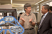 Thursday, May 12, for the Student Research and Creative Activity Fair at the Convo Center....JIm Zhu, Electrical Engineering And Computer Science .Aeromobile Project with Presdient Dr. McDavis
