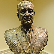 Bronze bust of Senator Lyndon B. Johnson sculpted by Jimily Mason. Modeled from life, LBJ first sat for this portrait in 1960 and continued to sit several times until its completion in 1966. The bust is on display in the LBJ Museum in Austin, Texas.
