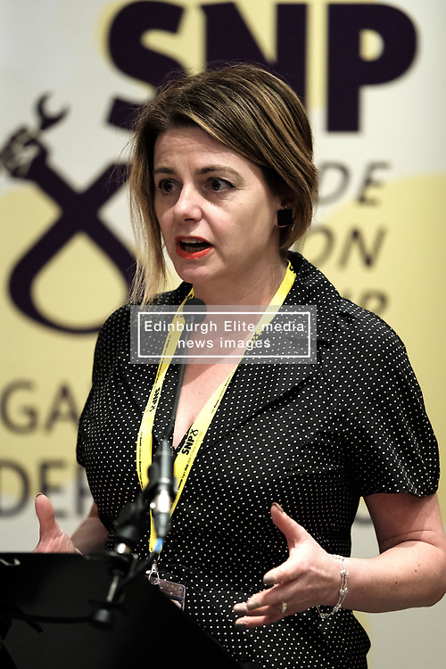 SNP Spring Conference, Saturday 27th April 2019<br /> <br /> SNP Trades Union Group fringe meeting<br /> <br /> The Scottish Trade Union campaign to tackle Corporate Homicide is as old as the Scottish Parliament.  From 2006 the received wisdom has been because any Act would relate to H&S, which is not devolved, the Scottish Parliament may not have legislative competence.<br /> <br /> This view was clearly politically motivated at the time but it has remained received wisdom within the civil service.<br /> <br /> The Trade Unions' campaign however will not go away.  Trade Unions' believe there is a solution using a previously untested section of the Scotland Act.<br /> <br /> We call upon the political will of the Scottish Government to look at this alternative and right the political wrongs of previous Scottish Executives - it is a win-win.<br /> <br /> This is arranged jointly by the TUG and Scottish Hazards and the Speakers are:<br /> <br /> Patrick McGuire, Legal Advisor to Scottish Hazards<br /> <br /> Lynn Henderson,  Past President, Scottish Trades Union Congress<br /> <br /> Chris Stephens MP, Shadow SNP Spokesperson (Fair Work and Employment)<br /> <br /> Chair:  Greg McCarra, Convener, SNP Trade Union Group<br /> <br /> Pictured:  Lynn Henderson <br /> <br /> Alex Todd | Edinburgh Elite media