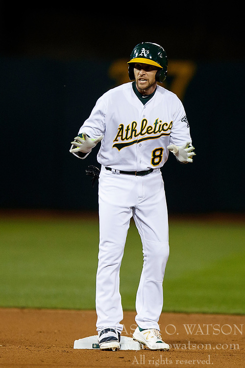 OAKLAND, CA - APRIL 04:  Jed Lowrie #8 of the Oakland Athletics stands on second base after hitting a double against the Los Angeles Angels of Anaheim during the fourth inning at the Oakland Coliseum on April 4, 2017 in Oakland, California. The Los Angeles Angels of Anaheim defeated the Oakland Athletics 7-6. (Photo by Jason O. Watson/Getty Images) *** Local Caption *** Jed Lowrie