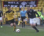 Dundee's Jim McAlister goes past Livingston's Mike Mampuya - Livingston v Dundee - SPFL Championship at Almondvale <br />