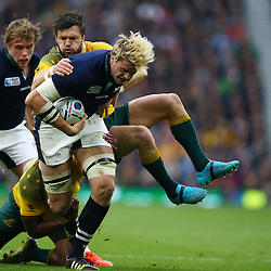 LONDON, ENGLAND - OCTOBER 18: Adam Ashley-Cooper of Australia tackling Richie Gray of Scotland  during the Rugby World Cup Quarter Final match between Australia v Scotland at Twickenham Stadium on October 18, 2015 in London, England. (Photo by Steve Haag)