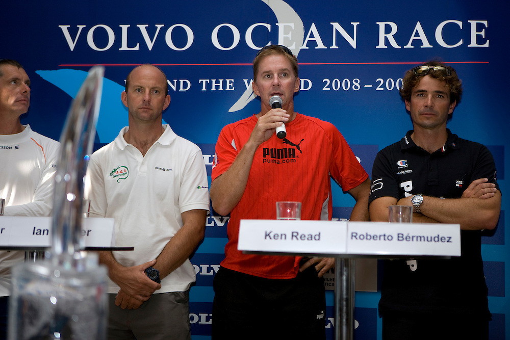 12DEC08. The Skippers' Press Conference before the start Leg 3 of the Volvo Ocean Race 2008-09 from Cochin, India, to Singapore. The Leg is expected to take between 10 and 12 days arriving in Singapore just in time for Christmas.