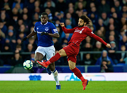 LIVERPOOL, ENGLAND - Sunday, March 3, 2019: Liverpool's Mohamed Salah (R) and Everton's Kurt Zouma during the FA Premier League match between Everton FC and Liverpool FC, the 233rd Merseyside Derby, at Goodison Park. (Pic by Laura Malkin/Propaganda)