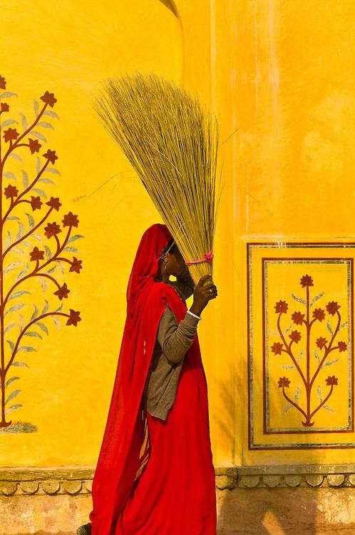 Women working, Amber Palace, Amber (near Jaipur), Rajasthan, India