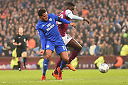 Cardiff City midfielder Nathaniel Mendez-Laing (19) battles for possession  with Aston Villa defender (on loan from Manchester United) Axel Tuanzebe (28) during the EFL Sky Bet Championship match between Aston Villa and Cardiff City at Villa Park, Birmingham, England on 10 April 2018. Picture by Dennis Goodwin.