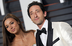 Adrien Brody, Lara Lieto in attendance for 2015 Vanity Fair Oscar Party Hosted By Graydon Carter at Wallis Annenberg Center for the Performing Arts on February 22, 2015 in Beverly Hills, California. EXPA Pictures © 2015, PhotoCredit: EXPA/ Photoshot/ Dennis Van Tine<br /> <br /> *****ATTENTION - for AUT, SLO, CRO, SRB, BIH, MAZ only*****