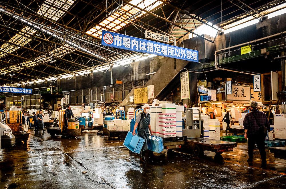 Tsukiji Fish Market, Tokyo, Japan.