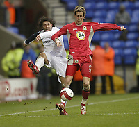 Photo: Aidan Ellis.<br /> Bolton Wanderers v Blackburn Rovers. The Barclays Premiership. 04/03/2007.<br /> Bolton's Ivan Campo (L) and Blackburn's Morten Gamst Pedersen