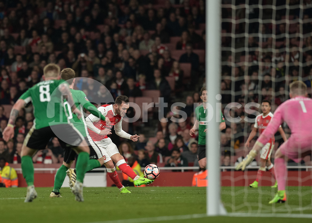 Lucas of Arsenal shoots at goal during the The FA Cup sixth round match between Arsenal and Lincoln City at the Emirates Stadium, London, England on 11 March 2017. Photo by Vince Mignott.