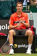 Florian Mayer (GER) sitzt auf der Bank w&auml;hrend der Spielpause,<br /> <br /> <br /> Tennis - Gerry Weber Open - ATP 500 -  Gerry Weber Stadion - Halle / Westf. - Nordrhein Westfalen - Germany  - 19 June 2015. <br /> &copy; Juergen Hasenkopf