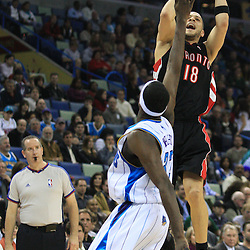 06 February 2009: Toronto Raptors guard Anthony Parker (18) shoots over New Orleans Hornets forward Julian Wright (32) during a NBA game between the New Orleans Hornets and the Toronto Raptors at the New Orleans Arena in New Orleans, LA.