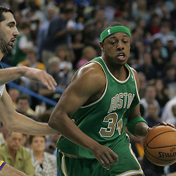 Paul Pierce #34 of the Boston Celtics drives past New Orleans Hornets forward Peja Stojakovic in the first quarter of their NBA game on March 22, 2008 at the New Orleans Arena in New Orleans, Louisiana. The New Orleans Hornets defeated the Boston Celtics 113-106.
