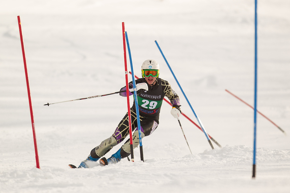 Brad Farrell of Saint Michael's College, skis during the second  run of the men's slalom at the University of Vermont Carnival at Burke Mountain on January 26, 2014 in East Burke, VT. (Dustin Satloff/EISA)
