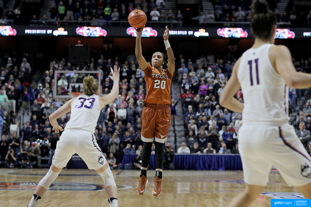 UNCASVILLE, CONNECTICUT- DECEMBER 4: Brianna Taylor #20 of the Texas Longhorns shoots for three defended by Katie Lou Samuelson #33 of the Connecticut Huskies during the UConn Huskies Vs Texas Longhorns, NCAA Women's Basketball game in the Jimmy V Classic on December 4th, 2016 at the Mohegan Sun Arena, Uncasville, Connecticut. (Photo by Tim Clayton/Corbis via Getty Images)
