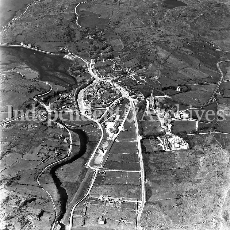 A114 Clifden.   02/01/53. (Part of the Independent Newspapers Ireland/NLI collection.)<br /> <br /> <br /> These aerial views of Ireland from the Morgan Collection were taken during the mid-1950's, comprising medium and low altitude black-and-white birds-eye views of places and events, many of which were commissioned by clients. From 1951 to 1958 a different aerial picture was published each Friday in the Irish Independent in a series called, 'Views from the Air'.<br /> The photographer was Alexander 'Monkey' Campbell Morgan (1919-1958). Born in London and part of the Royal Artillery Air Corps, on leaving the army he started Aerophotos in Ireland. He was killed when, on business, his plane crashed flying from Shannon.