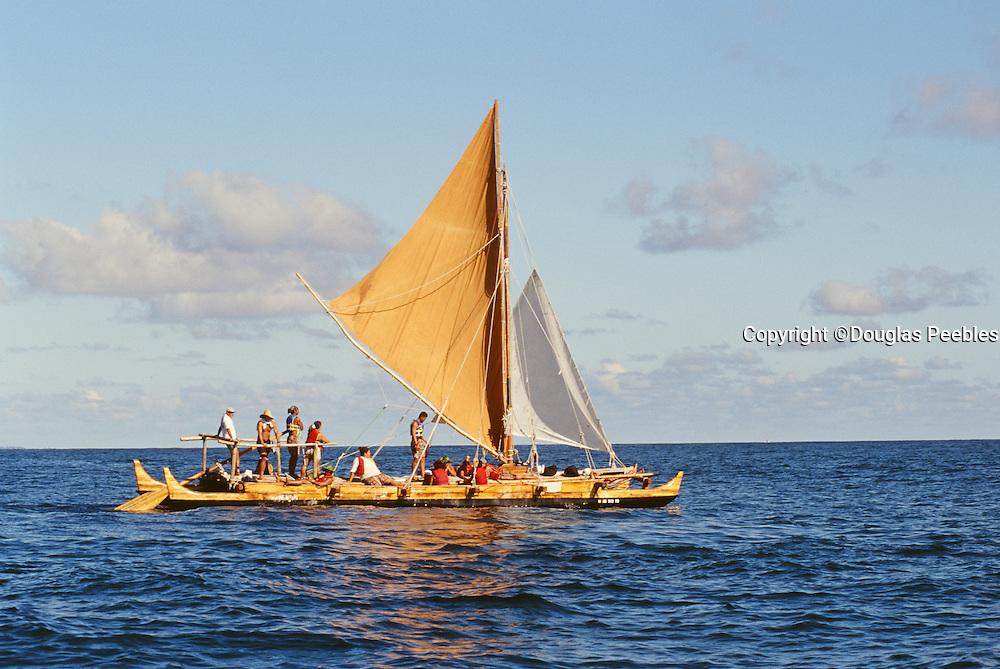 Double hull sailing canoe, Hawaii