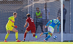 NAPLES, ITALY - Wednesday, October 3, 2018: Napoli's Gianluca Gaetano scores an injury time equalising goal to level the score 1-1, despite two balls being on the pitch, during the UEFA Youth League Group C match between S.S.C. Napoli and Liverpool FC at Stadio Comunale di Frattamaggiore. (Pic by David Rawcliffe/Propaganda)