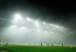 Stadium in fog due to pyrotechnic firework during football match between NK Olimpija Ljubljana and NK Maribor in 15th Round of Prva liga Telekom Slovenije 2015/16, on November 21, 2015 in SRC Stozice, Ljubljana, Slovenia. Photo by Vid Ponikvar / Sportida