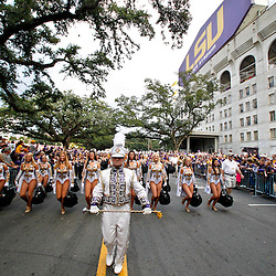 November 13, 2010; Baton Rouge, LA, USA; The LSU Tiger band marches outside prior to kickoff of a game between the LSU Tigers and the Louisiana Monroe Warhawks at Tiger Stadium.  Mandatory Credit: Derick E. Hingle