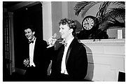 Francis Freising and Simon Sebag-Montefiore, Pitt club Ball, Cambridge, 13 February 1987, SUPPLIED FOR ONE-TIME USE ONLY-DO NOT ARCHIVE. © Copyright Photograph by Dafydd Jones 66 Stockwell Park Rd. London SW9 0DA Tel 020 7733 0108 www.dafjones.com