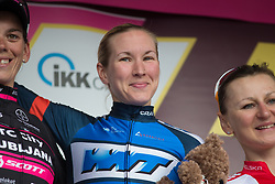 Hayley Simmonds (GBR) of Team WNT celebrates winning Stage 3 of the Lotto Thuringen Ladies Tour - a 124 km road race, starting and finishing in Weimar on July 15, 2017, in Thuringen, Germany. (Photo by Balint Hamvas/Velofocus.com)