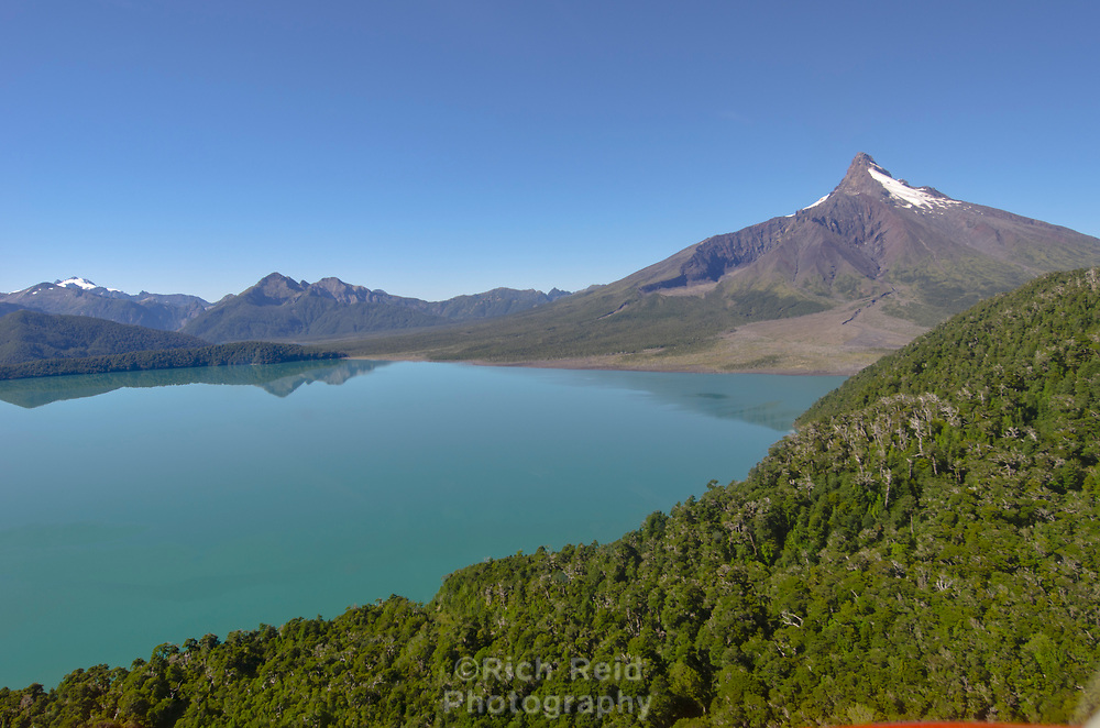 Aerial of alpine lakes below Volcán Corcovado in Parque Nacional Corcovado during the Patagonia Expedition 2013 in Southern Chile.