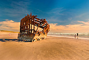 Skeletal remains of Peter Iredale Shipwreck in Fort Stevens State Park, OR.