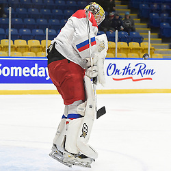 WHITBY, - Dec 15, 2015 -  WJAC Game 6- Team Russia vs Team Switzerland at the 2015 World Junior A Challenge at the Iroquois Park Recreation Complex, ON. Mikhail Berdin #1 of Team Russia blocks the shot during the second period.(Photo: Andy Corneau / OJHL Images)
