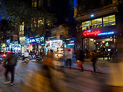 25 DECEMBER 2017 - HANOI, VIETNAM: Evening traffic on Ly Quoc Su Street in the Old Quarter of Hanoi.     PHOTO BY JACK KURTZ