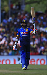August 20, 2017 - Dambulla, Sri Lanka - Sri Lankan cricketer Niroshan Dickwella celebrates after scoring 50 runs during the 1st One Day International cricket match bewtween Sri Lanka and India at Dambulla International cricket stadium situated in the Central Province and the first and only International cricket ground in the dry zone of Sri Lanka on Sunday 20 August 2017. (Credit Image: © Tharaka Basnayaka/NurPhoto via ZUMA Press)