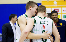 Dino Muric and Jaka Blazic of Olimpija celebrate after winning the basketball match between KK Union Olimpija Ljubljana and KK Krka Novo mesto of finals of 11th Slovenian Spar Cup 2012, on February 19, 2012 in Sports hall Brezice,  Brezice, Slovenia. Union Olimpija defeated Krka 68-63 and became Slovenian Cup Champion 2012. (Photo By Vid Ponikvar / Sportida.com)