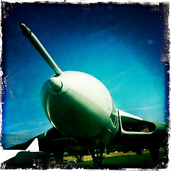 A Vulcan aircraft at The National Museum of Flight, Scotland's national aviation museum at East Fortune Airfield, south of the village of East Fortune, in East Lothian..Hipstamatic images taken on an Apple iPhone..©Michael Schofield.
