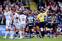 Max Lahiff of Bath Rugby celebrates as referee Tim Wigglesworth awards a penalty at a scrum - Mandatory byline: Patrick Khachfe/JMP - 07966 386802 - 17/10/2015 - RUGBY UNION - The Recreation Ground - Bath, England - Bath Rugby v Exeter Chiefs - Aviva Premiership.