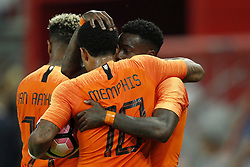 (L-R) Patrick van Aanholt of Holland, Memphis Depay of Holland, Quincy Promes of Holland during  the International friendly match between Slovakia and The Netherlands at Stadium Antona Malatinskeho on May 31, 2018 in Trnava, Slovakia